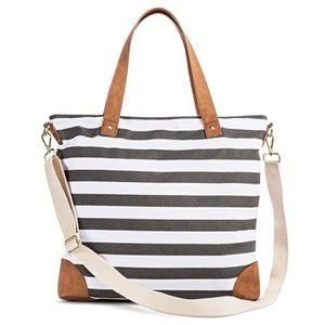 Merona Printed striped Canvas Tote Bag